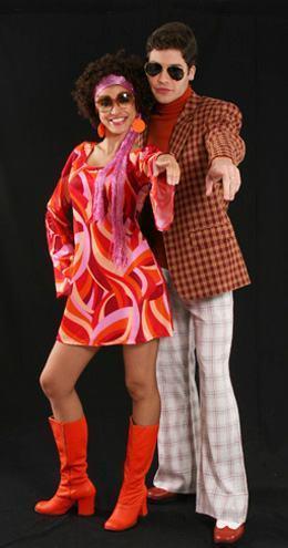 roupa anos 70 feminina e masculina