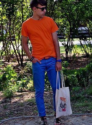 calça colorida azul homem