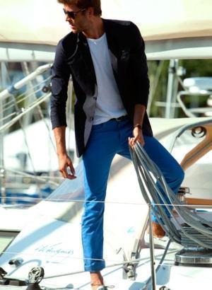 calça colorida azul