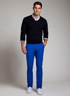 calça colorida masculina azul