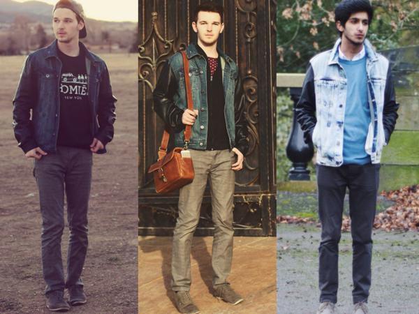 jaqueta jeans com manga de couro