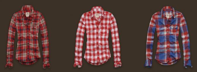imagem camisa xadrez hollister feminina