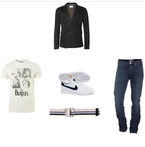 foto de blazer com jeans no estilo casual