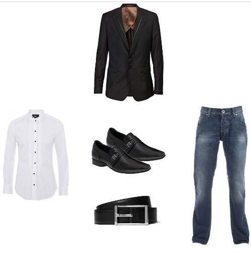 foto calça jeans com blazer
