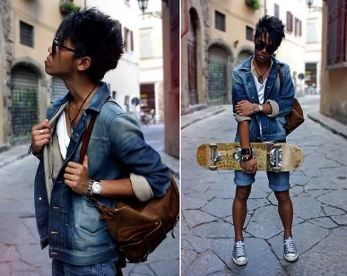 foto bermuda jeans com sneaker