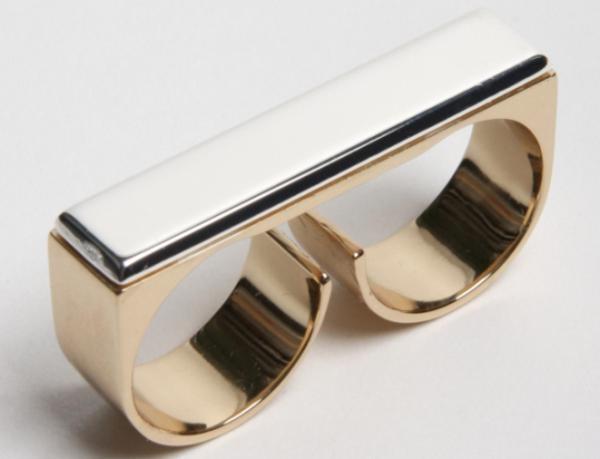 anel de dois dedos de ouro