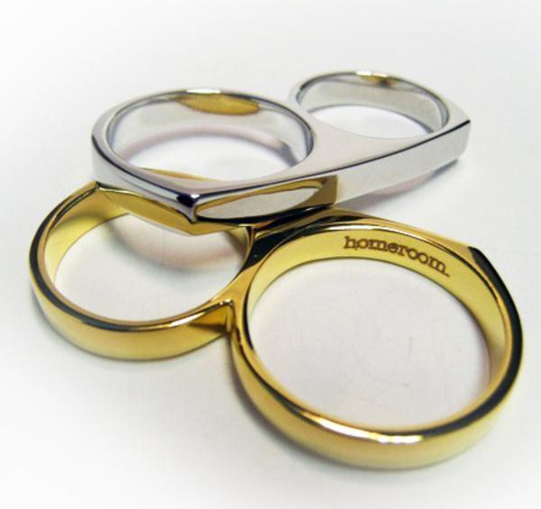 anel de dois dedos de prata