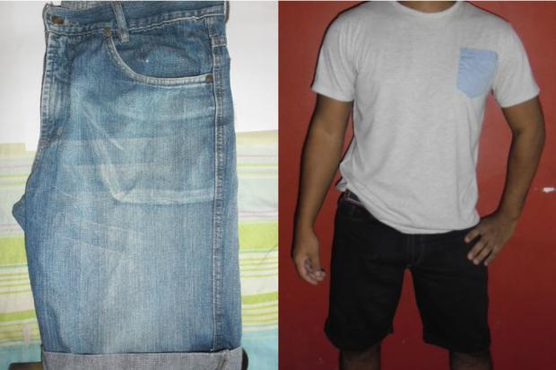 antes e depois da bermuda jeans tingida
