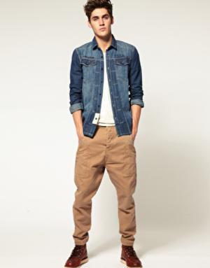 calça cenoura masculina sarja