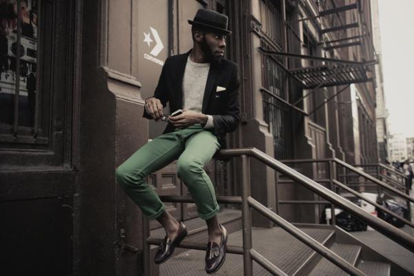 calça verde masculina