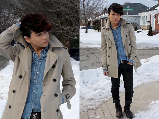 como usar trench coat masculin com calça jeans preta