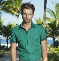 camisa slim fit individual verde masculina