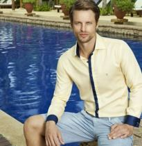 camisa social individual masculina amarela