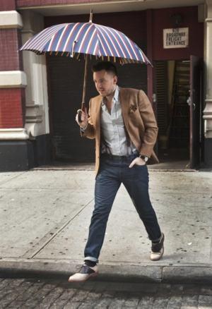 guarda chuva listrado masculino
