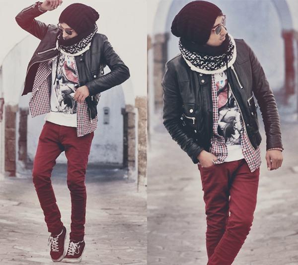 calça vermelha inverno