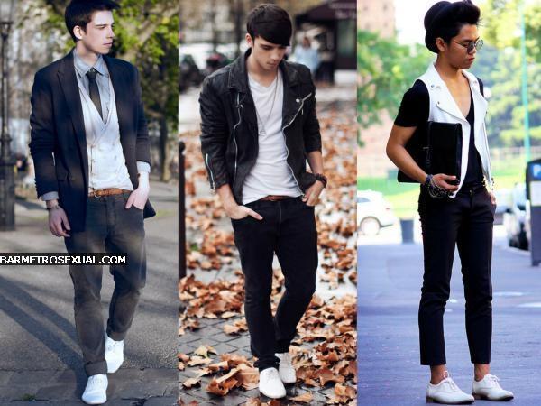 sapato branco com calça preta