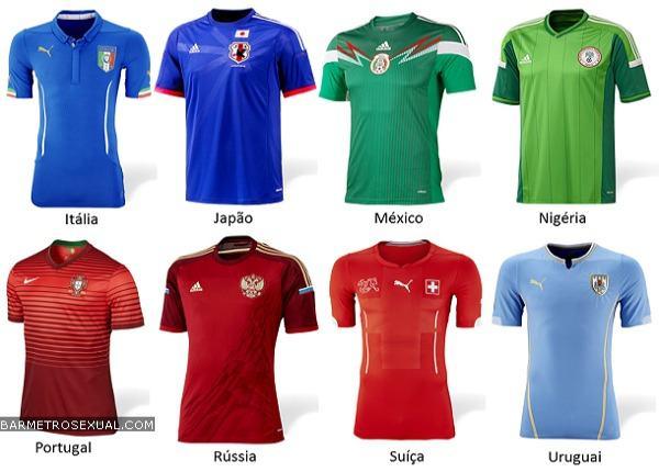 camisa da italia, japao, mexico, nigeria, portugal, russia, suica e uruguai