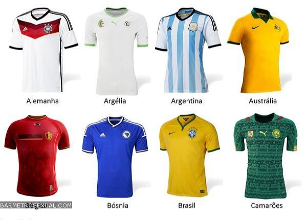 camisa da selecao da alemanha, argelia, argentina, australia, belgica, bosnia, brasil e camaroes.