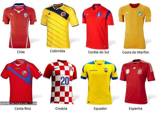 camisa do chile, colombia, coreia do sul, costa do marfim, costa rica, croacia, equador e espanha