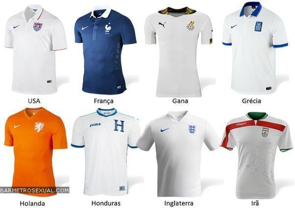 camisa dos estados unidos, franca, gana, grecia, holanda, honduras, inglaterra e ira