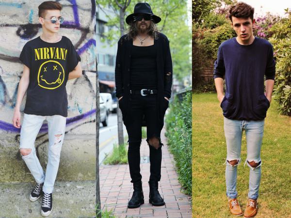 calça jeans rasgada no joelho