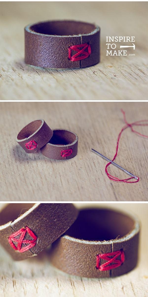 como fazer anel de couro
