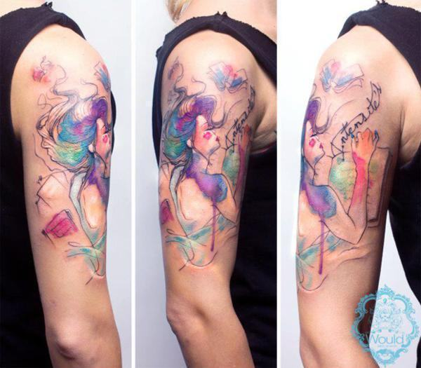 tatuagem aquarela bailarina
