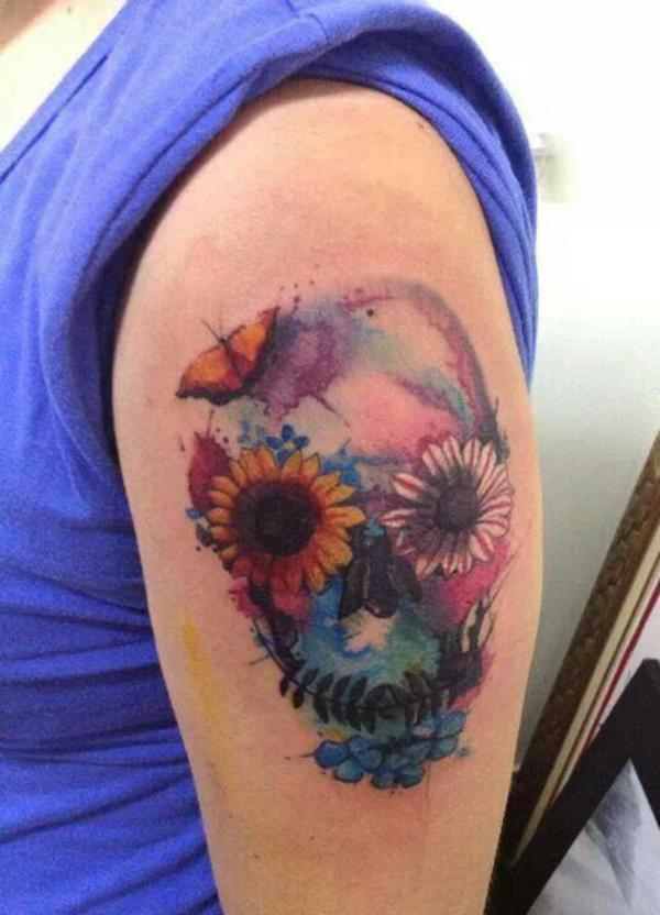 tatuagem aquarela caveira