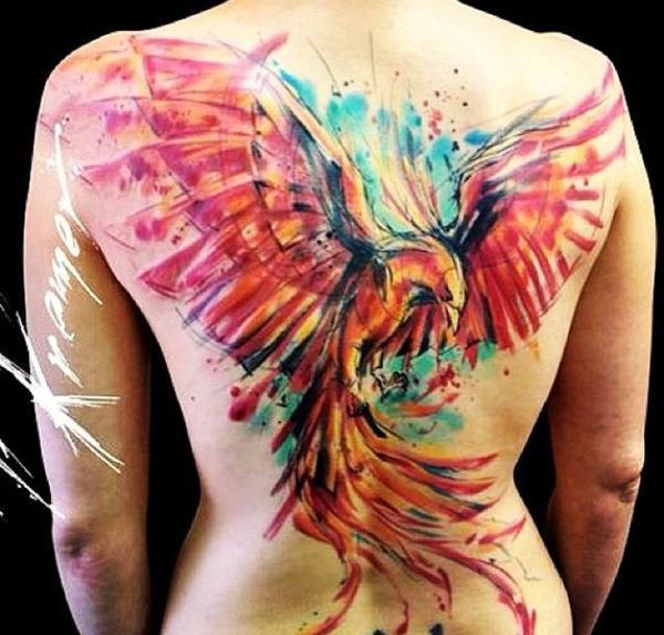 tatuagem aquarela fenix