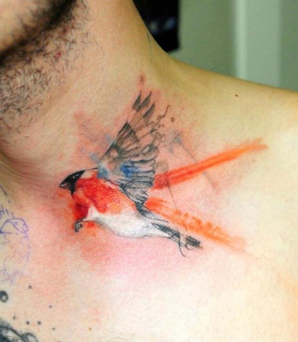 tatuagem aquarela passaro