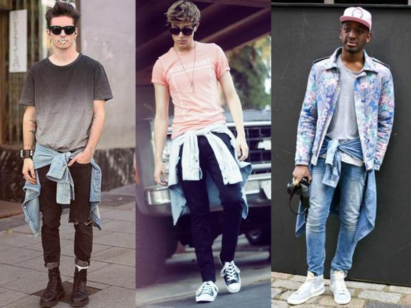 camisa jeans amarrada na cintura